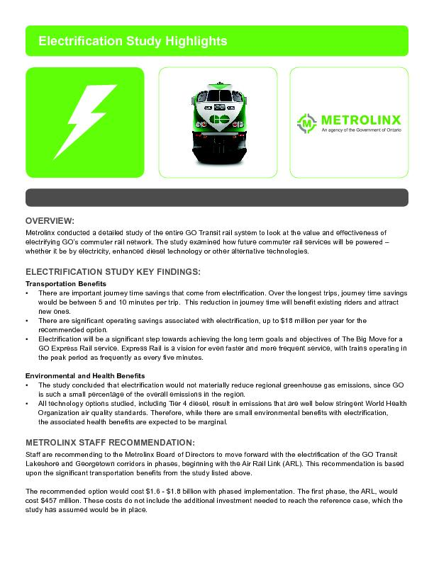 Metrolinx conducted a detailed study of the entire GO Transit rail sys