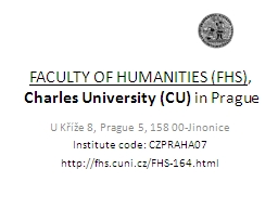 FACULTY OF HUMANITIES (FHS)