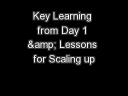 Key Learning from Day 1 & Lessons for Scaling up