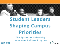 Student Leaders Shaping Campus Priorities PowerPoint PPT Presentation