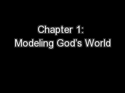 Chapter 1: Modeling God's World