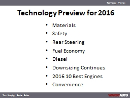 Technology Preview for 2016 PowerPoint PPT Presentation