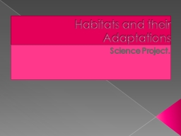 Habitats and their Adaptations PowerPoint PPT Presentation