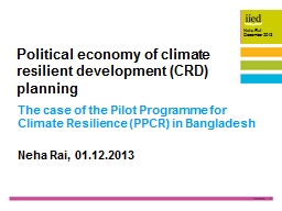 The case of the Pilot Programme for Climate Resilience (PPC