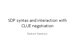 SDP syntax and interaction with CLUE negotiation