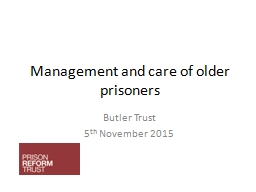 Management and care of older prisoners