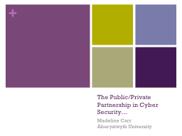 The Public/Private Partnership in Cyber Security…