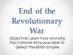 End of the Revolutionary War