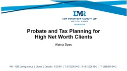 Probate and Tax Planning for
