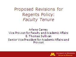 Proposed Revisions for Regents Policy: