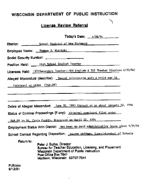 Thomas Woznicki License Review Referral (WI Department of Public Instruction)