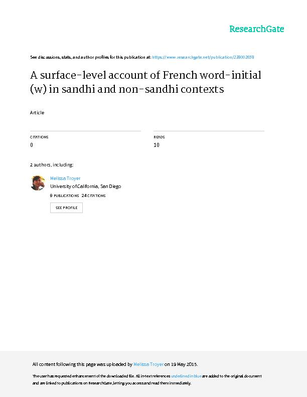 A surface-level account of French word-initial [w] in sandhi and non-s