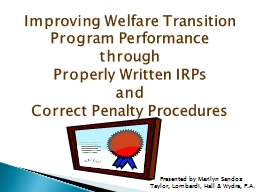 Improving Welfare Transition Program Performance PowerPoint PPT Presentation