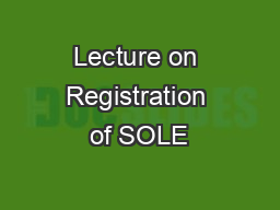 Lecture on Registration of SOLE