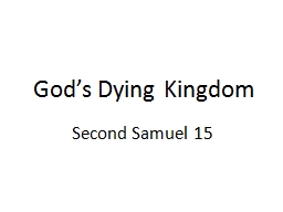 God's Dying Kingdom