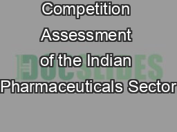 Competition Assessment of the Indian Pharmaceuticals Sector