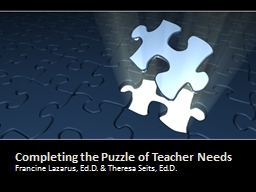 Completing the Puzzle of Teacher Needs