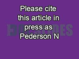 Please cite this article in press as Pederson N PowerPoint PPT Presentation
