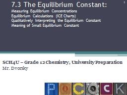 7.3 The Equilibrium Constant: PowerPoint PPT Presentation
