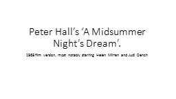 Peter Hall's 'A Midsummer Night's Dream'.