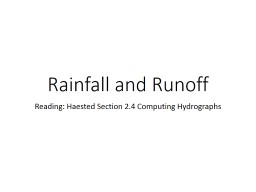 Rainfall and Runoff