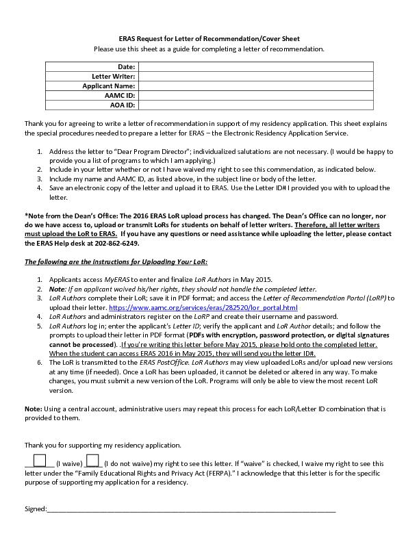 Request for Letter of Recommendation/Cover Sheet
