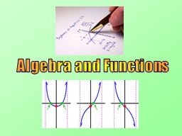 Algebra and Functions PowerPoint PPT Presentation
