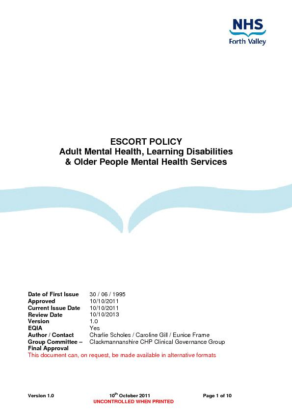 ESCORT POLICY Adult Mental Health, Learning Disabilities
