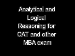 Analytical and Logical Reasoning for CAT and other MBA exam