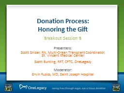 Donation Process:                         Honoring the Gift
