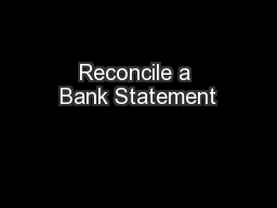 Reconcile a Bank Statement