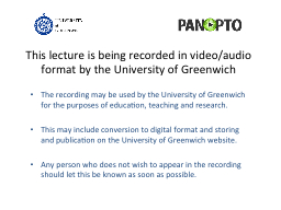 This lecture is being recorded in video/audio format by the PowerPoint PPT Presentation