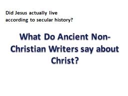 What Do Ancient Non-Christian Writers say about Christ?