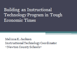 Building an Instructional Technology Program in Tough Econo