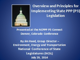 Overview and Principles for Implementing State PPP (P3) Leg