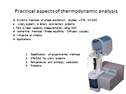 Practical aspects of thermodynamic analysis