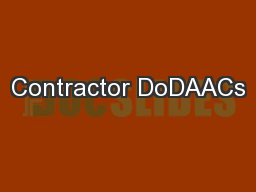 Contractor DoDAACs PowerPoint PPT Presentation