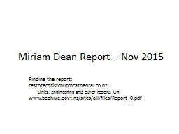 Miriam Dean Report – Nov 2015
