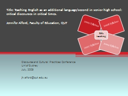 Title: Teaching English as an additional language/second in