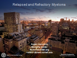 Relapsed and Refractory Myeloma