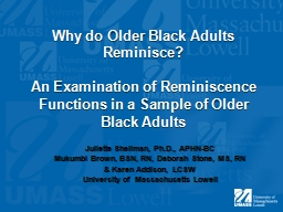 Why do Older Black Adults Reminisce? PowerPoint PPT Presentation