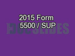 2015 Form 5500 / SUP