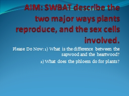 AIM: SWBAT describe the two major ways plants reproduce, an PowerPoint PPT Presentation