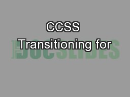 CCSS Transitioning for