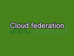 Cloud federation