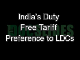 India's Duty Free Tariff Preference to LDCs