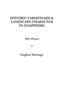 HISTORIC FARMSTEADS & LANDSCAPE CHARACTER IN HAMPSHIRE