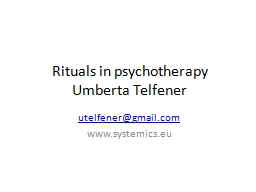Rituals in psychotherapy
