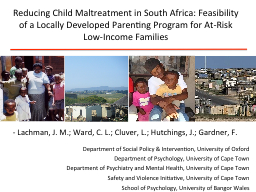 Reducing Child Maltreatment in South Africa: Feasibility of