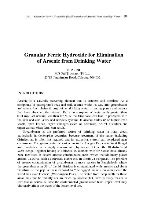 Pal  :  Granular Ferric Hydroxide for Elimination of Arsenic from drin